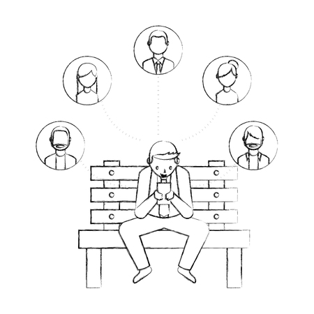 businessman using smartphone on bench vector illustration hand drawing