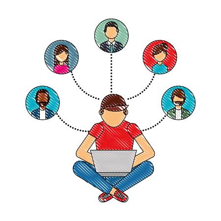man using laptop connection group people vector illustration Ilustração Vetorial
