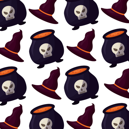 halloween cauldron with hat witch pattern vector illustration design