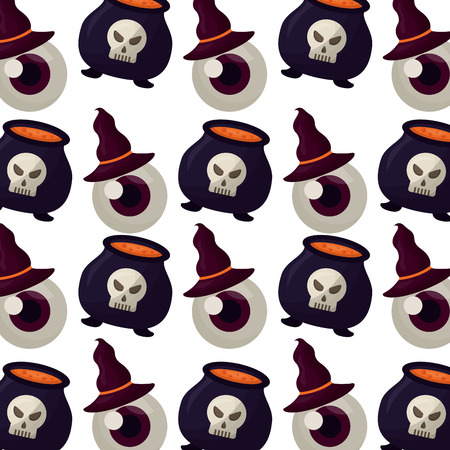 halloween cauldron with eye and hat witch pattern vector illustration design