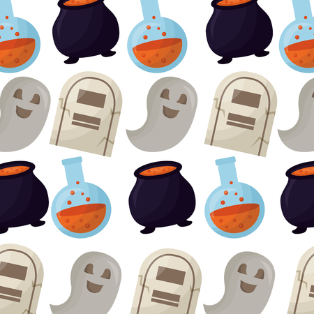 happy halloween icons pattern vector illustration design Banque d'images - 108559175