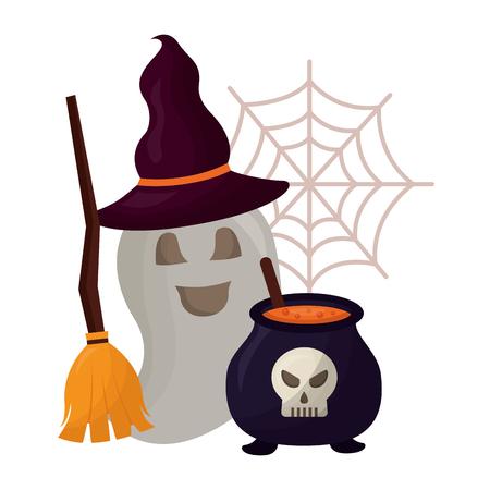halloween cauldron with skull and set icons vector illustration design Illustration