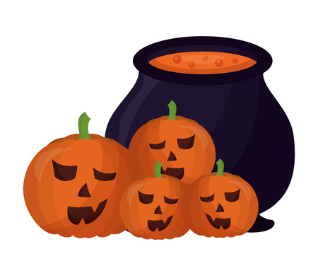 halloween cauldron and pumpkins isolated icon vector illustration design Foto de archivo - 108559216
