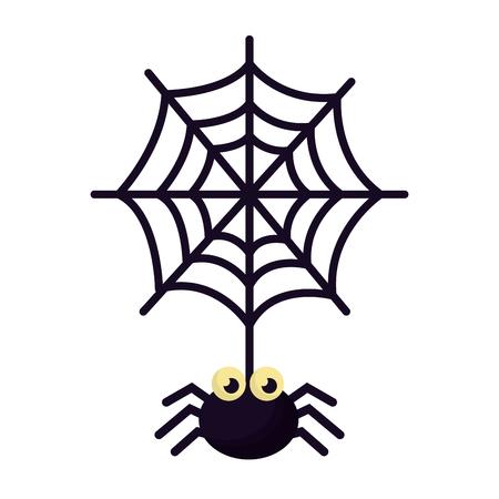 Halloween spin met spinnenweb geïsoleerd pictogram vector illustratie ontwerp Vector Illustratie
