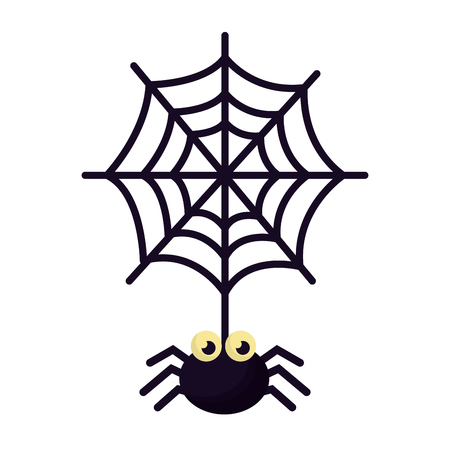 halloween spider with spiderweb isolated icon vector illustration design Illustration