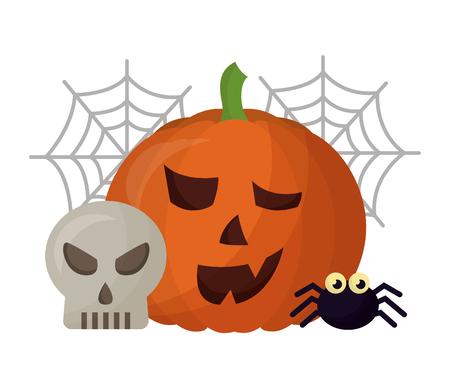 halloween pumpkin with spider and set icons vector illustration design Illustration