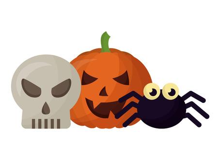 halloween pumpkin with skull and spider vector illustration design Çizim