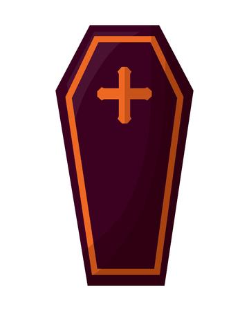 halloween coffin isolated icon vector illustration design
