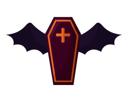 halloween coffin with bat wings isolated icon vector illustration design