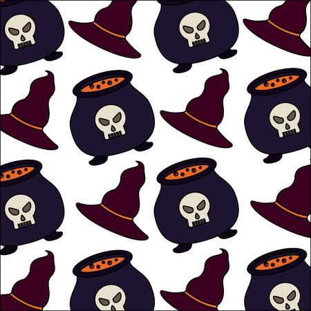 halloween cauldron with hat witch pattern vector illustration design