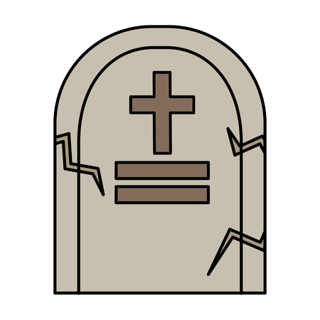 halloween tomb isolated icon vector illustration design