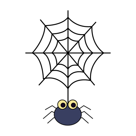halloween spider with spiderweb isolated icon vector illustration design 向量圖像