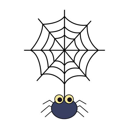 Halloween-Spinne mit lokalisiertem Symbolvektor-Illustrationsentwurf des Spinnennetzes Vektorgrafik