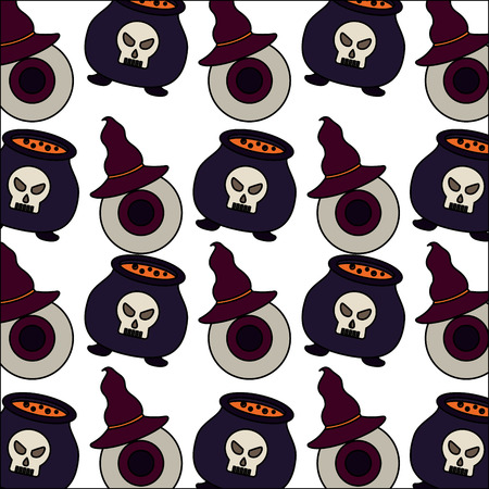 halloween cauldron with eye and hat witch pattern vector illustration design Stockfoto - 109824210