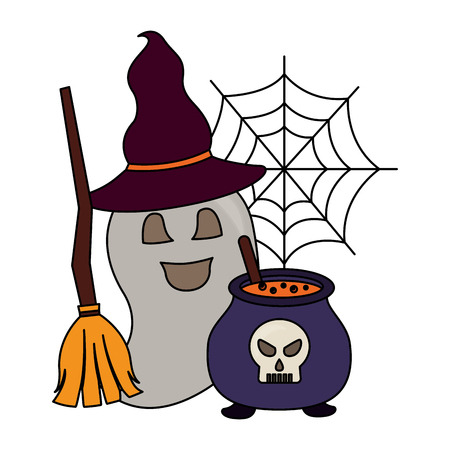 halloween cauldron with skull and set icons vector illustration design Stock Illustratie