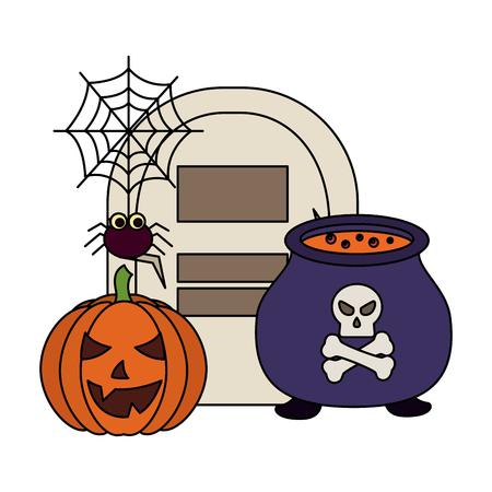 halloween pumpkin with tomb and set icons vector illustration design Reklamní fotografie - 108572536