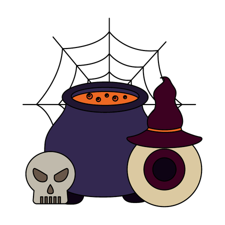 halloween cauldron with skull and set icons vector illustration design Stock Illustratie