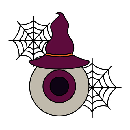 halloween eye with hat witch isolated icon vector illustration design