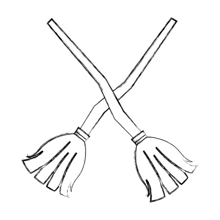 crossed witch brooms wooden handle vector illustration hand drawing