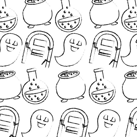 halloween comic tomb ghost cauldron and flask pattern vector illustration hand drawing
