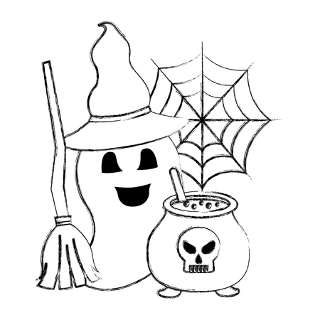 halloween ghost with hat and broom cauldron vector illustration hand drawing