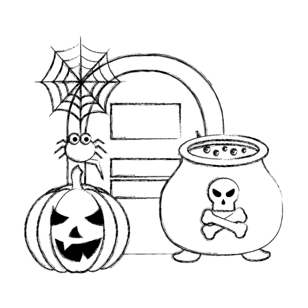halloween grave cauldron pumpkin spider web vector illustration hand drawing Illustration