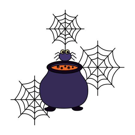 halloween cauldron with spider isolated icon vector illustration design 일러스트