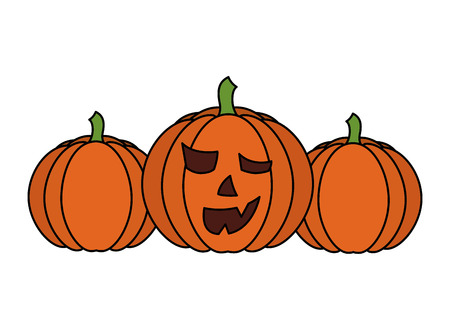 set of halloween pumpkins isolated icon vector illustration design