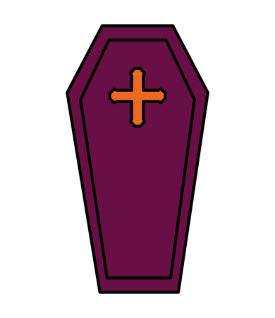halloween coffin isolated icon vector illustration design