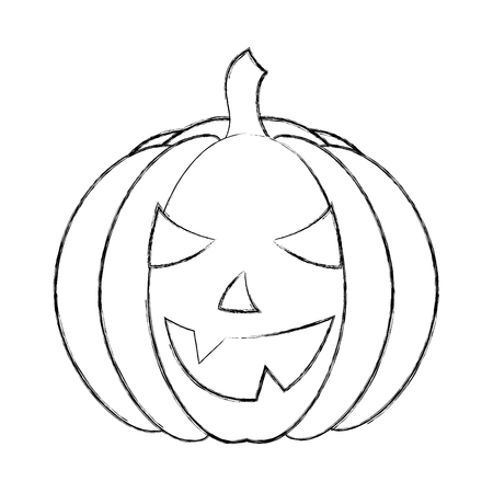 halloween pumpkin with happy face cartoon vector illustration hand drawing  イラスト・ベクター素材