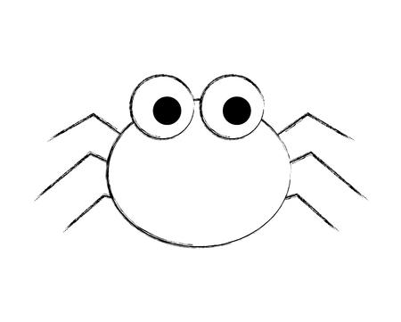 Cute spider cartoon scary animal ilustración vectorial dibujo a mano
