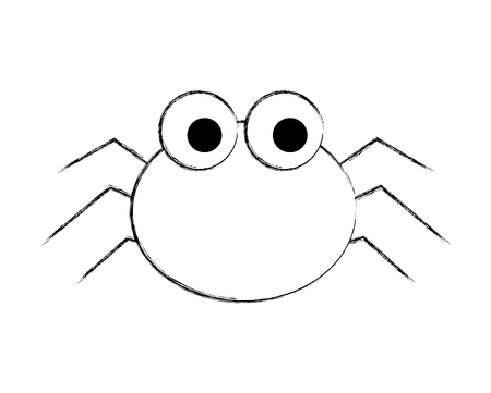 cute spider cartoon scary animal vector illustration hand drawing