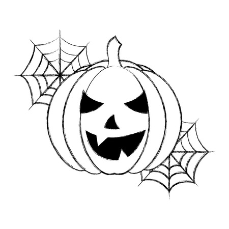 halloween pumpkin with cobweb cartoon vector illustration hand drawing Stock Illustratie