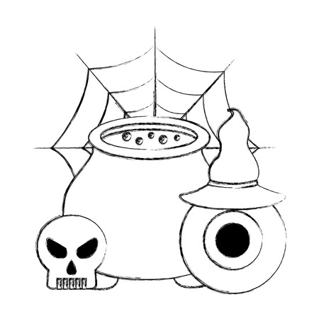 halloween cauldron eye hat and skuul cobweb vector illustration hand drawing Stock Illustratie