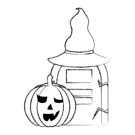 halloween pumpkin gravestone hat horror vector illustration hand drawing