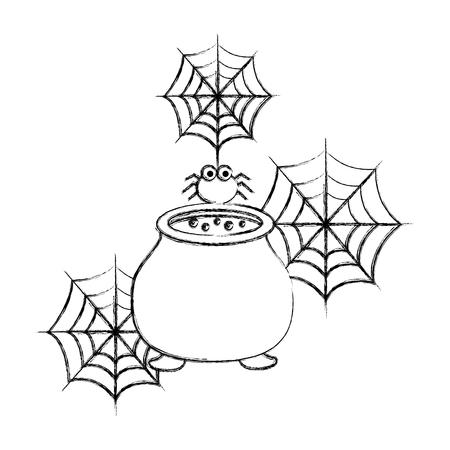 halloween cauldron and spider cobweb spooky vector illustration hand drawing Illusztráció