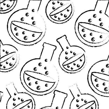 halloween potion flasks danger magic pattern vector illustration hand drawing