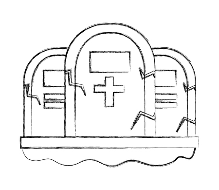 three gravestone stone monument memorial vector illustration hand drawing