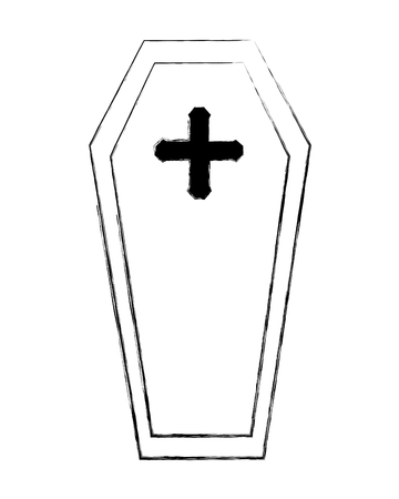 wooden coffin cross death funeral vector illustration hand drawing