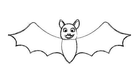halloween bat cartoon character open wings vector illustration hand drawing Illustration