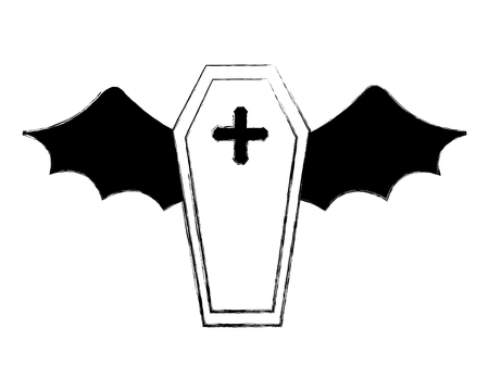 halloween coffin with wings bat horror vector illustration hand drawing