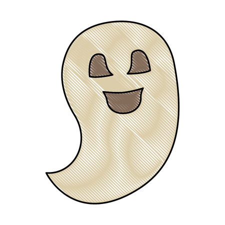 ghost spirit halloween scary cute cartoon vector illustration Illustration