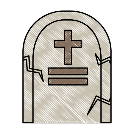 gravestone stone monument memorial cementery vector illustration