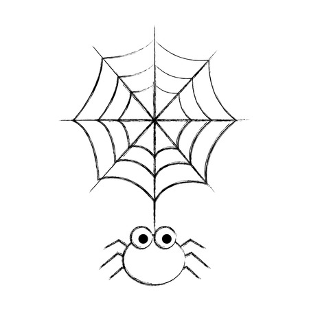 hanging cute cobweb spider halloween vector illustration hand drawing
