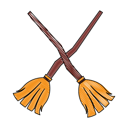 crossed witch brooms wooden handle vector illustration