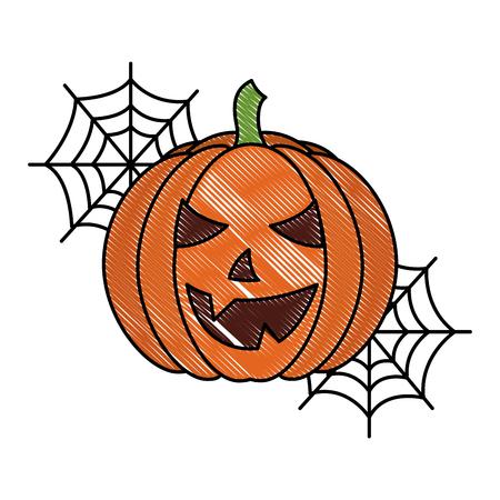 halloween pumpkin with cobweb cartoon vector illustration