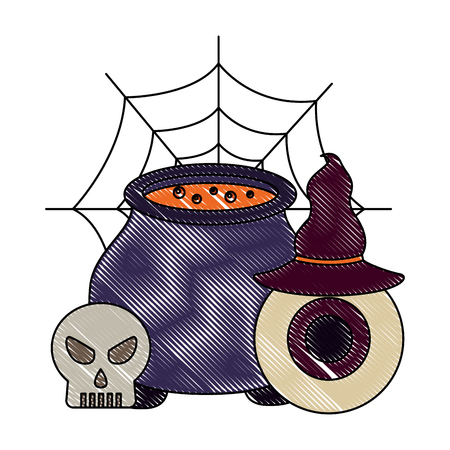 halloween cauldron eye hat and skuul cobweb vector illustration