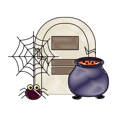 halloween grave cauldron spider hanging cobweb vector illustration