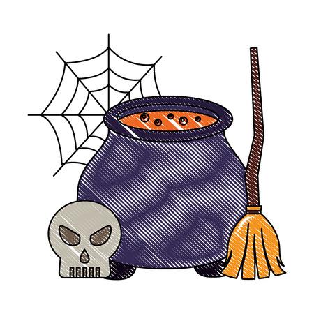 halloween cauldron skull and broom cobweb vector illustration