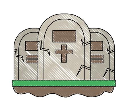 three gravestone stone monument memorial vector illustration